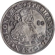 Poland. Taler, 1580. Olkusz Mint. Stefan Bathory (1575-86). PCGS Genuine--Cleaning, VF Details Secure Holder.
