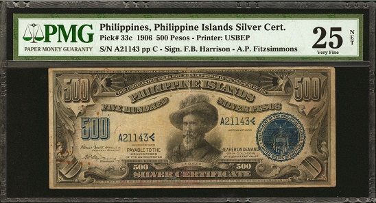 Philippines. Philippine Islands. 500 Pesos, 1906. P-33c. PMG Very Fine 25 Net. Rust.