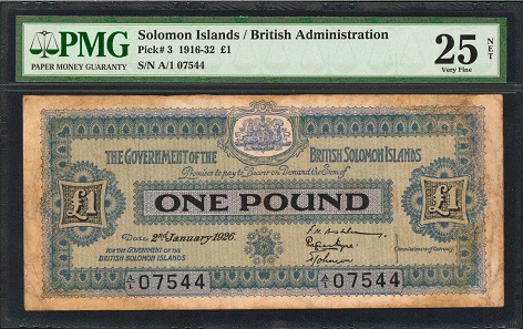 Solomon Islands. Government of the British Solomon Islands. 1 Pound, 2.1.1926. P-3. PMG Very Fine 25 Net. Restorations, Annotation.