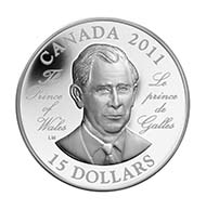 Canada - $15 - Prince Charles and Queen Elizabeth II. (reverse) (Designer: Laurie McGaw) - Mintage: 10.000.
