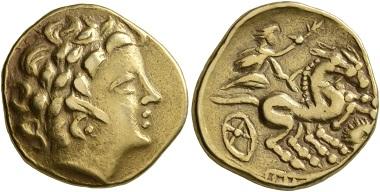 """Los 24: Kelten, Nordwest-Gallien. """"Armoricans"""". 3. Jh. v. Chr. Stater. Gutes sehr schön. Startpreis: 2.000 CHF. Zuschlag: 6.000 CHF."""