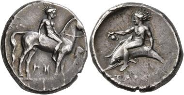 Lot 86: Kalabrien. Tarentum. Circa 365-355 v. Chr. Didrachm or Nomos. Gutes sehr schön. Startpreis: 150 CHF. Zuschlag: 1.100 CHF.