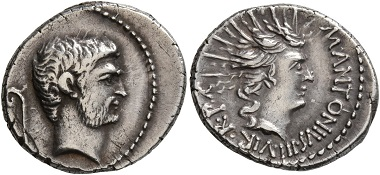 Lot 880: Mark Antony, 44-30 BC. Denarius. Good very fine. Starting price: 200 CHF. Hammer price: 2,420 CHF.