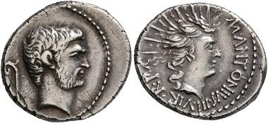 Lot 880: Marc Anton, 44-30 v. Chr. Denarius. Gutes sehr schön. Startpreis: 200 CHF. Zuschlag: 2.420 CHF.