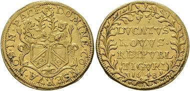 Lot 1457: Switzerland. Zürich. Ducat. Good very fine. Starting price: 500 CHF. Hammer price: 6,500 CHF.
