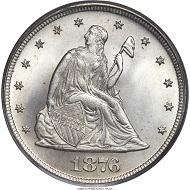 1876 Twenty Cent Piece, MS67 PCGS. Realized price: 88,125 USD.