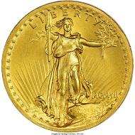 1907 Saint-Gaudens Twenty, MS64 PCGS. Realized price: 32,900 USD.