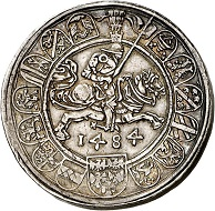 293 / Lot 1524: Holy Roman Empire / Archduke Sigismund 'Rich in Coins', 1446-1496. Thick taler from the dies of the 1/2 guldiner, 1484, Hall. From the Terletzki Collection. Extremely rare. Very fine to extremely fine. Estimate: 10,000,- euros. Hammer price: 40,000 euros.
