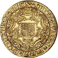 294 / Lot 3164: Netherlands / Campen. Double rosenoble no date (1600). Imitation of the sovereign of English Queen Elizabeth. Very rare. Extremely fine. Estimate: 60,000,- euros. Hammer price: 80,000 euros.