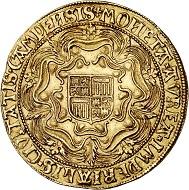 294 / Nr. 3164: Niederlande / Campen. Doppelter Rosenoble o. J. (1600). Imitation des Sovereign der englischen Königin Elizabeth. Sehr selten. Vorzüglich. Taxe: 60.000,- Euro. Zuschlag: 80.000 Euro.
