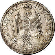 293 / Lot 103: Augsburg. Triple reichstaler 1626. Extremely rare. Very fine to extremely fine. Estimate: 7,500,- euros. Hammer price: 17,000,- euros.