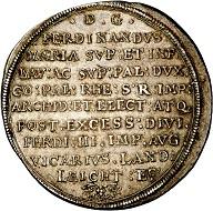 293 / Lot 143: Bavaria. Ferdinand Maria, 1651-1679. Reichstaler 1657, Munich, on the vicariate. Very rare. Extremely fine. Estimate: 3,000,- euros. Hammer price: 8,500,- euros.