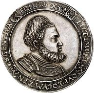 293 / Nr. 1161: Sachsen. Friedrich III. der Weise, 1486-1525. Breiter Guldengroschen o. J. (nach 1507) auf die Generalstatthalterwürde. Sehr selten. Vorzüglich. Taxe: 20.000,- Euro. Zuschlag: 32.000,- Euro.
