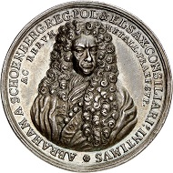 293 / Lot 1214: Saxony. Friedrich August I, 1694-1733. Silver medal 1698 by C. Wermuth on Abraham von Fineberg. From the Horn Collection. Very rare. Extremely fine. Estimate: 400,- euros. Hammer price: 6,000,- euros.