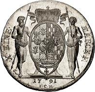 293 / Lot 1349: Schwarzburg-Rudolstadt. Friedrich Karl, 1790-1793. Konventionstaler 1791, Saalfeld. Extremely rare. First strike. FDC. Estimate: 400,- euros. Hammer price: 4,600,- euros.