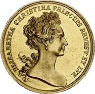 294 / Nr. 3569: Braunschweig-Wolfenbüttel. Anton Ulrich, 1704-1714. Goldmedaille zu 10 Dukaten 1707, auf die Reise Elisabeths Christine nach Spanien. Sehr selten. Vorzüglich bis Stempelglanz / Stempelglanz. Taxe: 20.000,- Euro. Zuschlag: 32.000,- Euro.