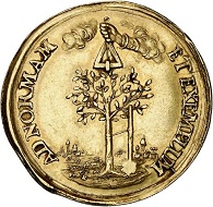 294 / Lot 3725: Palatinate. Johann Wilhelm, 1690-1716. Gold medal no date on the wedding of Karl Philipp with Luise Caroline von Radziwill in 1688. Very rare. Very fine to extremely fine. Estimate: 4,000,- euros. Hammer price: 11,000,- euros.