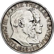 294 / Lot 4266: German Empire. Bavaria. Ludwig III, 1913-1918. 3 marks 1918. On the golden wedding anniversary of the Bavarian royal couple. Very rare. FDC. Estimate: 30,000,- euros. Hammer price: 40,000,- euros.