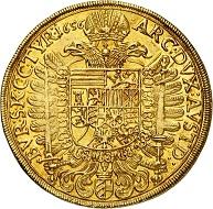 294 / Nr. 3410: Ferdinand III., 1625-1637-1657. 10 Dukaten 1656, Wien. Äußerst selten. Vorzüglich bis Stempelglanz. Taxe: 100.000,- Euro. Zuschlag: 105.000,- Euro.