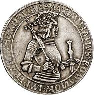 293 / Nr. 1527: Maximilian I., 1490-1519. Guldiner o. J., Hall. Kaiserguldiner. Sehr selten. Sehr schön bis vorzüglich / Vorzüglich. Taxe: 7.500,- Euro. Zuschlag: 24.000,- Euro.