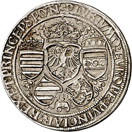 293 / Lot 1527: Maximilian I, 1490-1519. Guldiner no date, Hall. Kaiserguldiner. Very rare. Very fine to extremely fine / Extremely fine. Estimate: 7,500,- euros. Hammer price: 24,000,- euros.