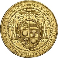 294 / Lot 3472: Salzburg. Max Gandolph von Küenburg, 1668-1687. 10 ducats 1668 on his accession to power. Very rare. Very fine+. Estimate: 10,000,- euros. Hammer price: 24,000,- euros.