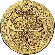 294 / Nr. 3208: Schweden. Karl X. Gustav, 1654-1660. Dukat 1657, Stockholm. Äußerst selten. Sehr schön bis vorzüglich. Taxe: 20.000,- Euro. Zuschlag: 30.000,- Euro.