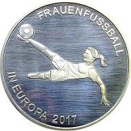 Frauenfußball in Europa 2017 / .333 Silber / Design: Laura Nicklaus, Münze Berlin / Auflage: 1.000.