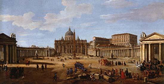 Saint Peter's Square in Rome around 1710.
