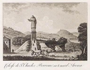 Statue des hl. Karl Borromäus in Arona,  von Gabriel Lory (1784-1846). Schweizerische Nationalbibliothek, GS-GUGE-LORY-A-12.