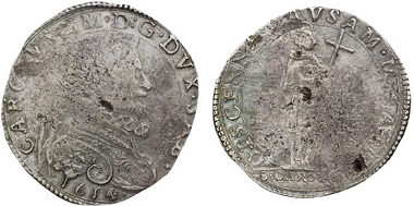 Charles Emanuel I of Savoy (1580-1630). 9 fiorini 1614, Turin. Rv. St. Charles Borromeo. – Charles Emanuel had coins minted in honor of St. Charles Borromeo to whom he got acquainted when the Archbishop traveled to Turin. From Astarte sale 22 (2010), 414.