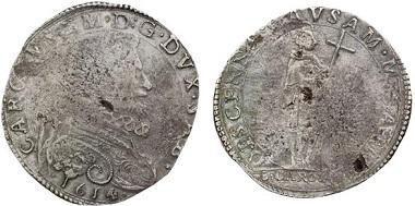 Carl Emanuel I. von Savoyen (1580-1630). 9 Fiorini 1614, Turin. Rv. Der hl. Karl Borromäus. – Carl Emanuel ließ Münzen zu Ehren des hl. Karl Borromäus zu prägen, den er während einer Reise des Erzbischofs nach Turin noch persönlich kennengelernt hatte. Aus Auktion Astarte 22 (2010), 414.