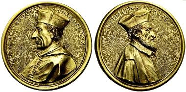 Medaille von Giuseppe Vismara von 1680 auf Karl Borromäus und Philipp Neri. Aus Auktion NAC 53 (2009), 669.