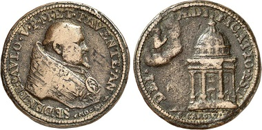 Paul V, 1605-1621. Bronze medal 1612. Rv. Charles Borromeo sitting on clouds, blessing San Carlo Church in Rome erected in his honor. From the Jaggi Coll., Gorny & Mosch sale 226 (2014), No. 3428.