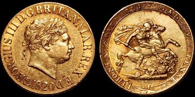 Lot 3: George III. Sovereign 1820. Good Very Fine. Estimate: 1,100 USD.