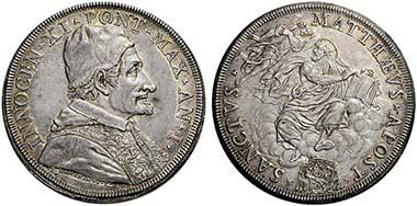 Innocent XI. Scudo 1676 by Giovanni Martino Hamerani.