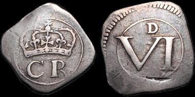 Lot 176: Ireland. Charles I. Ormonde siege sixpence. Very Fine. Estimate: 950 USD.