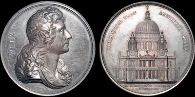 Lot 200: The Art Union of London. Christopher Wren. AR medal. 58 mm. Uncirculated. Estimate: 450 USD.
