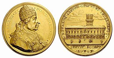 Clemens XI. Medaille von 1720 von Ermenegildo Hamerani auf die Erweiterung der Universität von Bologna.