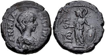 Lot 444: Egypt, Alexandria. Annia Faustina. Potin Tetradrachm, AD 221. VF. Estimate: 750 USD.