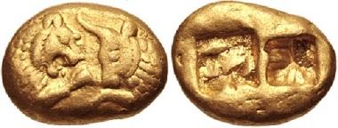 Lot 205: Kings of Lydia. Kroisos, circa 564/53-550/39 BC. Stater. VF. Estimate: 20,000 USD.