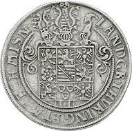 Los 2127: Sachsen-Alt-Gotha (Coburg-Eisenach). Johann Friedrich II. allein 1557-1567. Breiter Doppeltaler o.J. Geharn. Gutes sehr schön. Schätzpreis: 10.000 EUR.