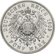 Los 2687: Waldeck. 5 Mark 1903 A Jaeger 171. Polierte Platte. Schätzpreis: 4.000 EUR.