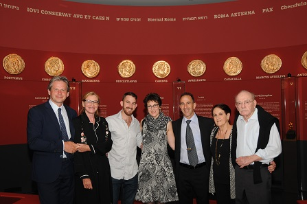 "Photo from the opening night of ""Faces of Power"". From left to right, Prof. François de Callatay and his wife Hannah, Stav Gitler, Ronit Gitler, Haim Gitler, and Haim's parents Beky and Carlos Gitler."