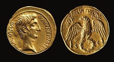 Aureus of Augustus, 27 BCE.
