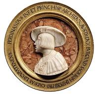 Erzherzog Ferdinand II., nachmals Kaiser Ferdinand I. (1503-1564). Augsburg, 1522/27. Marmor, Rahmen: Holz, vergoldet. Wien, Kunsthistorisches Museum, Kunstkammer, Inv.-Nr. KK 4452. Foto: © KHM-Museumsverband.