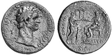 Domitianus, 81-96. Sesterz, 88. Rv. COS XIIII LVD SAEC Domitian auf einem Podium n. l. sitzend, die Sühnemittel an einen Hausvater übergebend, der mit seinem Sohn gekommen ist; auf dem Podium SVF PD. RIC 376. Aus Auktion Gorny & Mosch 108 (2001), 1762.