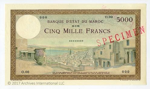 Morocco, Banque d'Etat du Maroc, ND 5000 Francs (ca. 1938), Specimen Note.