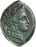 Lot 74. Henna (Sicily). Bronze, ca. 339/8-335. Very rare. Almost extremely fine. Estimate: 2,500 euros.