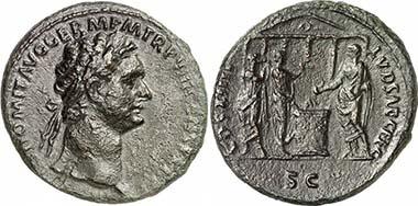 Domitianus, 81-96. As, 88. Rv. COS XIIII LVD SAEC FEC / SC Domitian opfert vor einem Tempel aus Patera über brennendem Altar, daneben Kithara und Flötenspieler. RIC 385(a). Aus Auktion Gorny & Mosch 181 (2009), 2118.